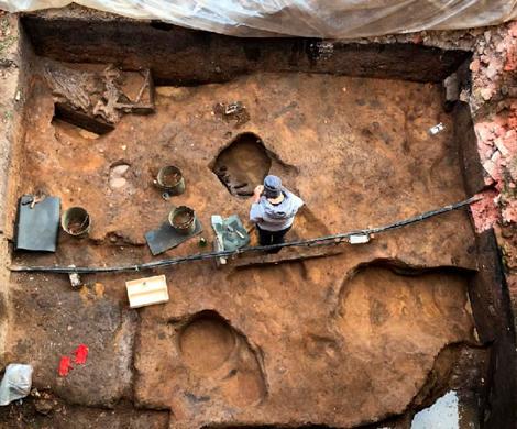 Археологи нашли в Зарайске череп мамонта с кладом внутри