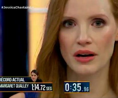 Артистка Джессика Честейн неморгала две минуты иустановила рекорд